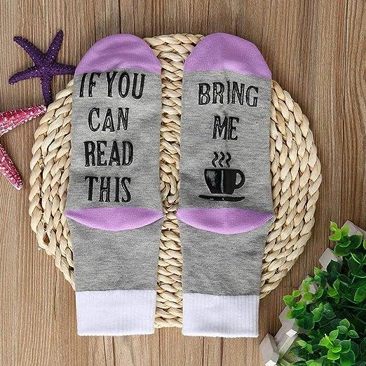 VJGOAL Mujer Hombre Unisex Otoño E Invierno moda casual Carta Imprimir empalme Calcetines Medias de tubo medio(Un tamaño, Púrpura): Amazon.es: Ropa y ...