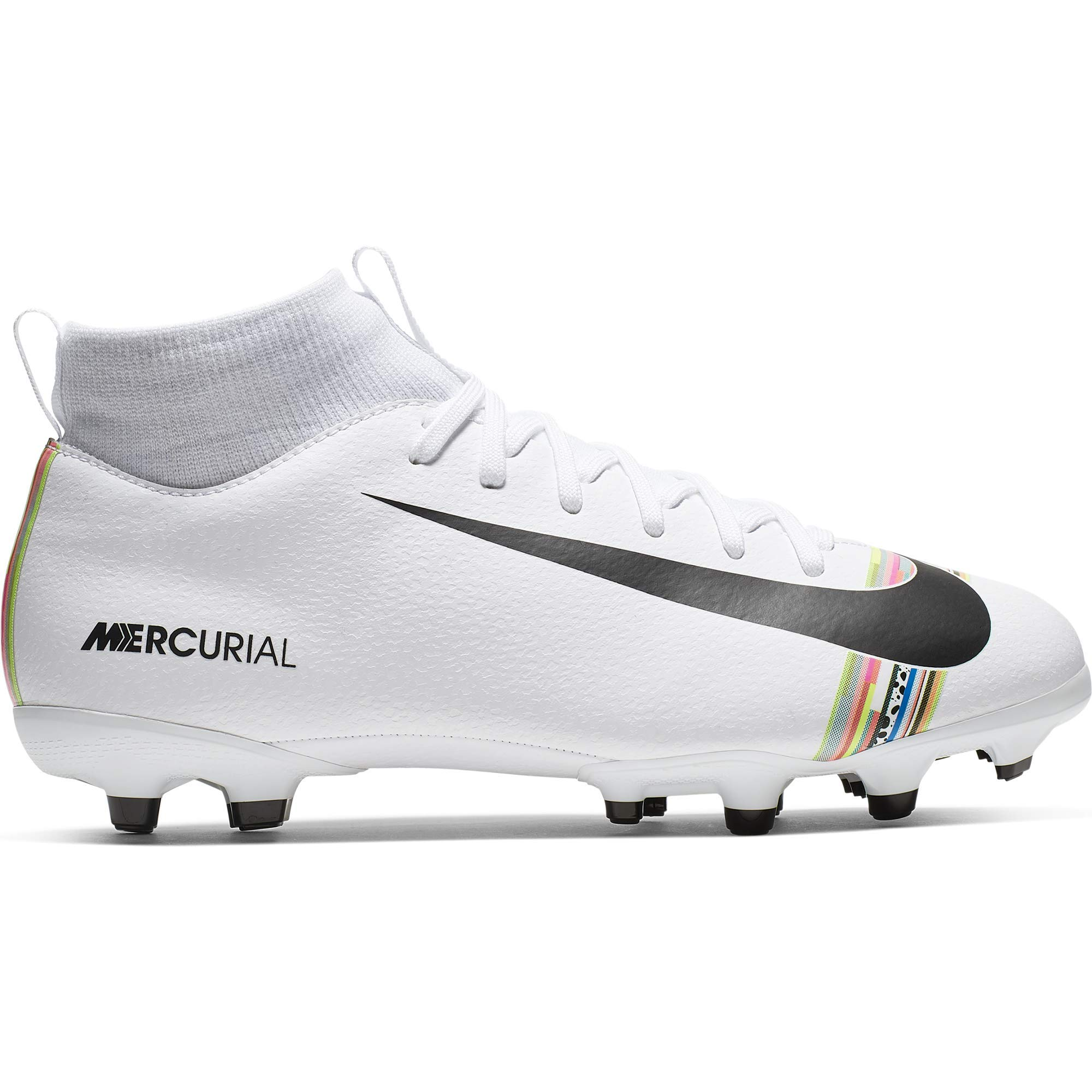 Nike Kids SuperFly 6 Academy GS FG/MG (6, White/Black/Pure Platinum)