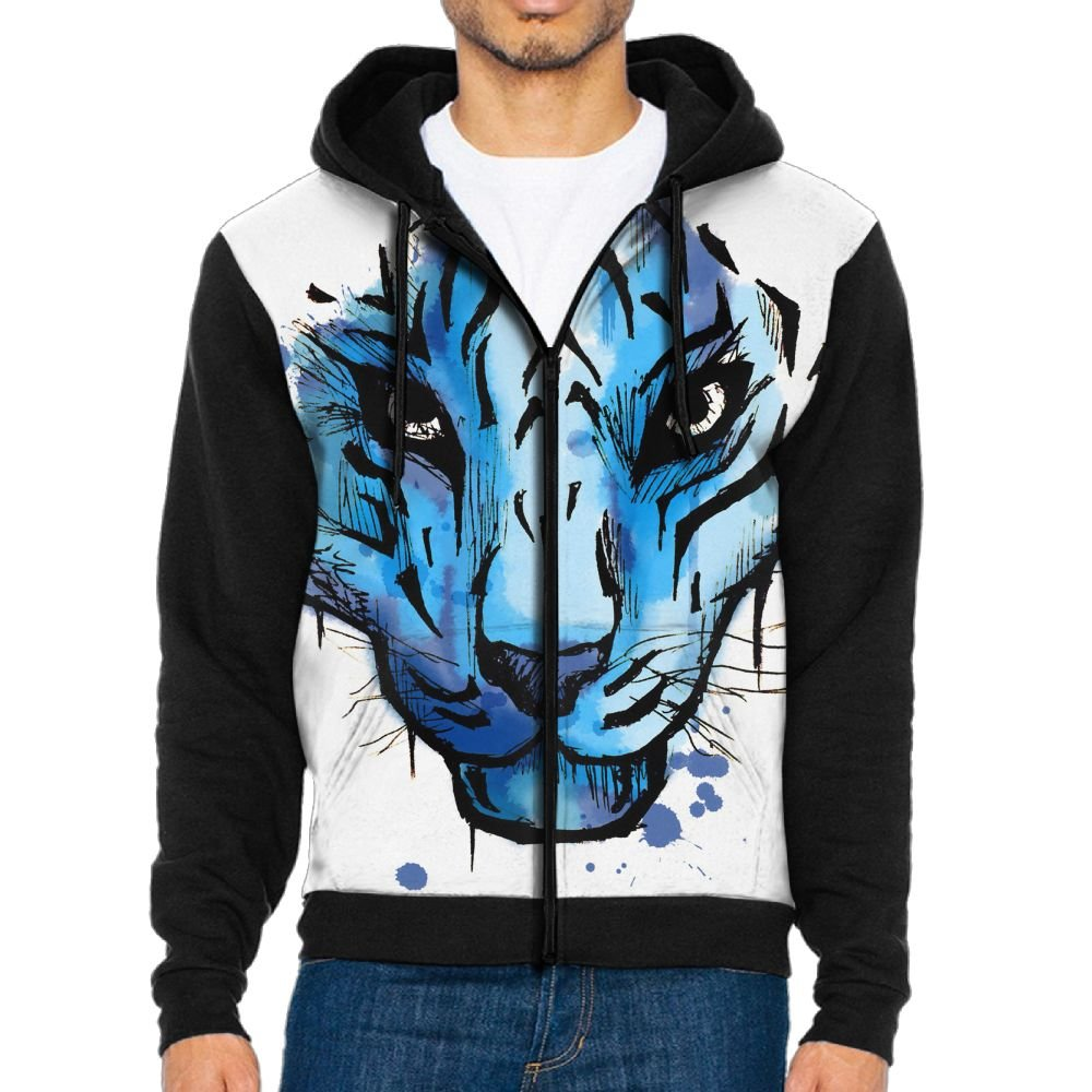 Futong Huaxia Blue Tiger Cool Men Zipper Hoodie Sweatshirt Sportswear Jackets With Pockets Black