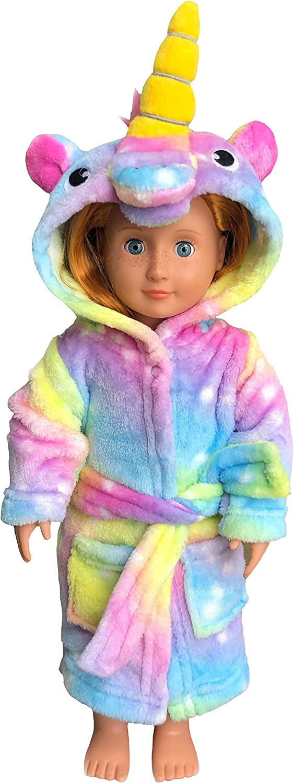 Unicorn Hooded Bathrobe Sleepwear Matching Doll /& Girls Gifts