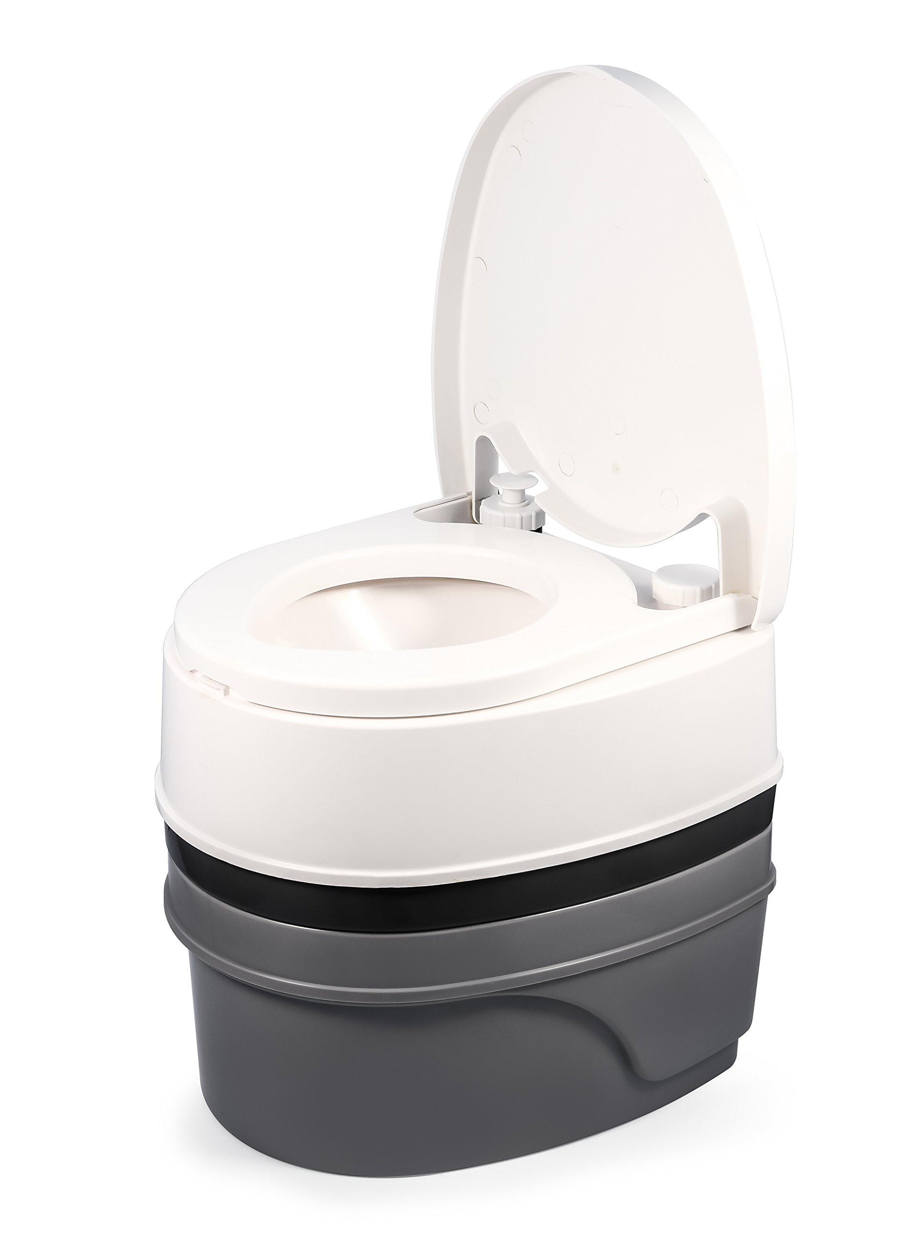 Camco Premium Travel Toilet with Detachable Tank- Simple Use and Maintenance | Excellent Outdoor Toilet Designed for Camping, Hiking, Boating, Rving and More | 5.3 Gallon Capacity Commode)(41544) by Camco