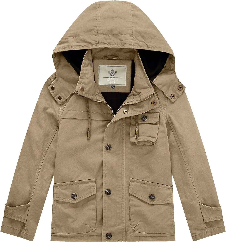 WenVen Boy's Spring Jacket Lightweight Cotton Windbreaker with Removable Hood
