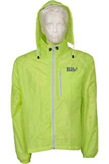 BBI Mens Cycling Rain Jacket Detachable Hood Multi Pockets Reflective  StripsWaterproof High Visibility Running Top Rain 9e64a8a4c