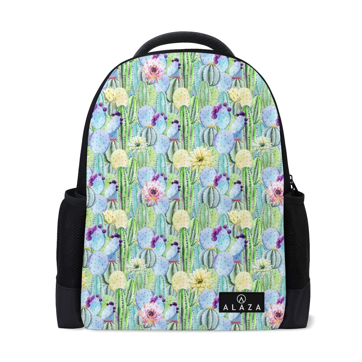Leather Cactus Flowers Colorful Backpack Daypack Bag Women