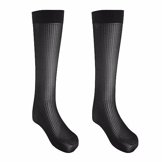 a1306112582f2 FEESHOW 2 Pairs Men's Summer Thin Silk Socks Over-the-Calf Business Dress  Crew