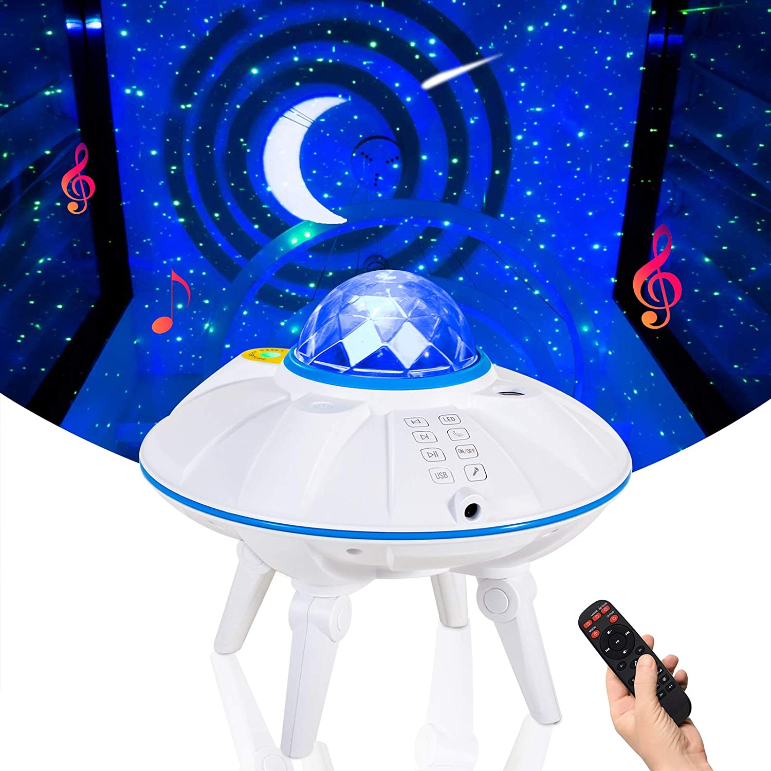 ZumYu Star Projector, Star Light Projector for Kids Adults Bedroom, Galaxy Projector with Remote Control, Decorating Home Theatre/Game Rooms/Bluetooth Music Speaker (Blue)