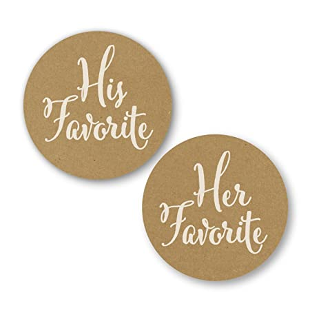 60 Printed Wedding Favor Stickers 30 His Favorite// 30 Her Favorite