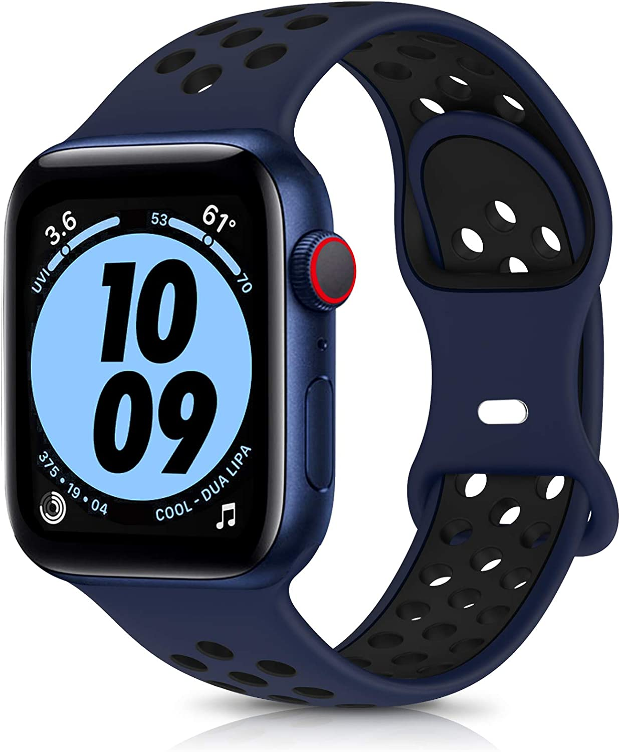 OYODSS Sport Bands Compatible with Apple Watch Band 38mm 40mm 42mm 44mm, Breathable Soft Silicone Replacement Wristband Compatible with iWatch Series 6 5 4 3 2 1 SE Women Men Midnight Blue&Black