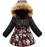 SS&CC Girls' Long Flower Printing Bowknot Winter Hooded Jacket