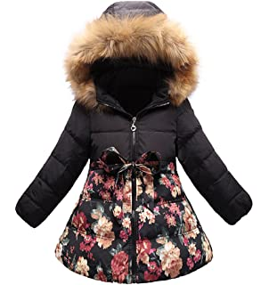 1a79c3032122e SS CC Girls  Long Flower Printing Bowknot Winter Coat Hooded Jacket