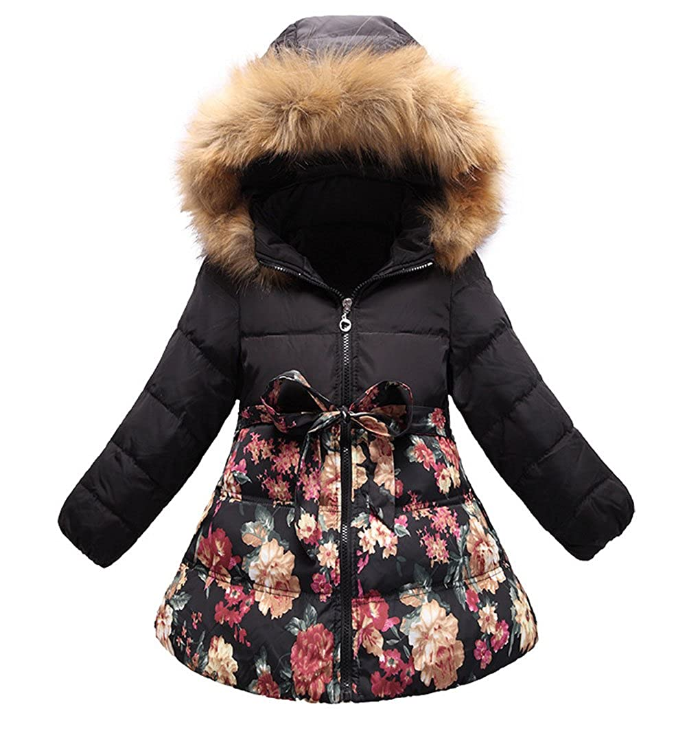 SS&CC Girls' Long Flower Printing Bowknot Winter Hooded Down Jacket