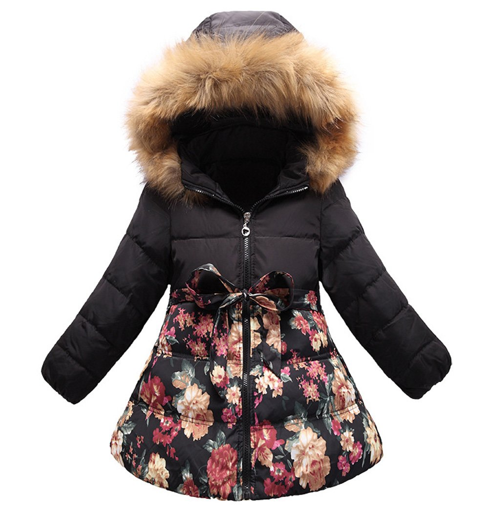 SS&CC Girls' Long Flower Printing Bowknot Winter Hooded Down Jacket Size 7/8, Black