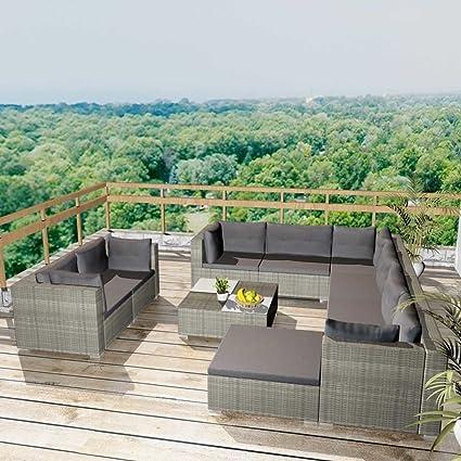 Tidyard Conjunto Muebles de Jardín de Ratán 32 Piezas Sofa ...