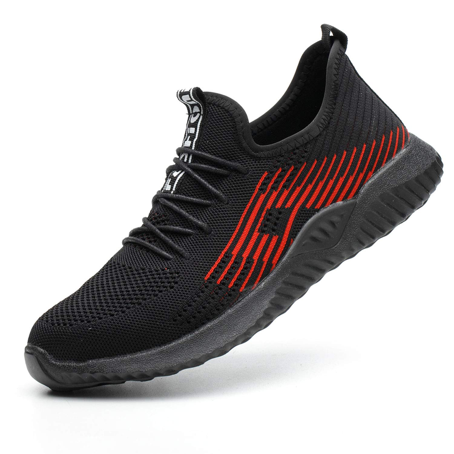 SUADEX Indestructible Shoes Work Safety Shoes for Men Womens, Steel Toe Shoes Lightweight Breathable Toe Sneakers Construction Working Shoes for Hiking Trail Tennis Black Size 13.5 Women / 12 Men