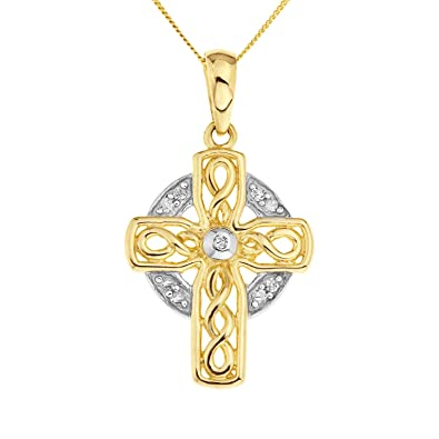 Ornami Glamour 9ct Yellow Gold Ladies' Small Cubic Zirconia Cross on 46cm Curb Chain zBpKMZs7s
