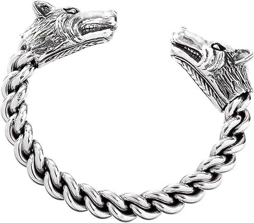 massiver Wolfskopf Armreif Wikinger Armspange 925 Silber Wolfsköpfe Handarbeit