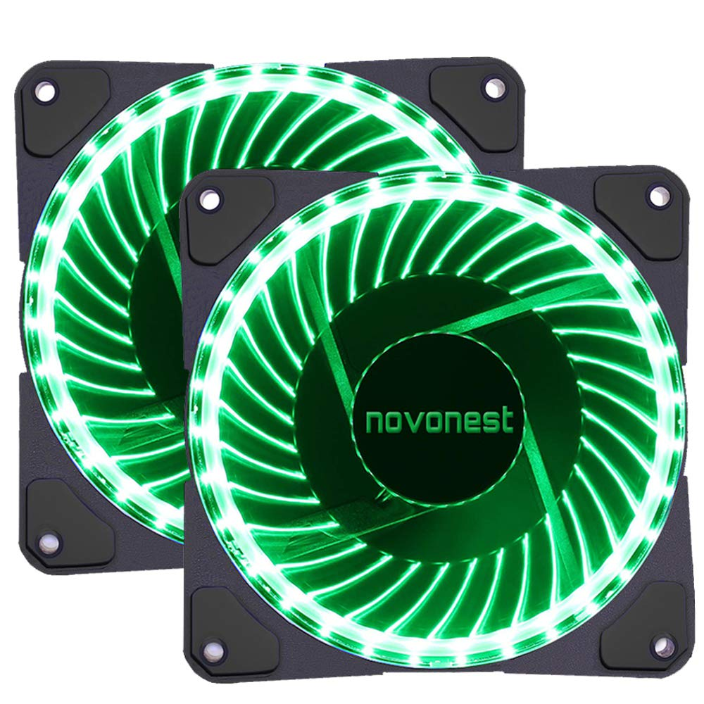 120mm PWM case fan 2PACK Solar Eclipse Hydraulic Bearing quiet cooling case fan for computer 32 leds MIRAGE Color LED fan 4 pin with Anti Vibration Rubber Pads(Green)