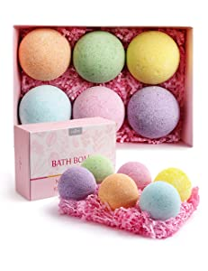 Anjou Bath Bombs Gift Set, 6 x 4.0 oz Vegan Natural Essential Oils, lush Fizzy Spa Moisturizes Dry Skin, Bubble Baths, Perfect Gift Kit Ideas for Girlfriends, Women, Moms