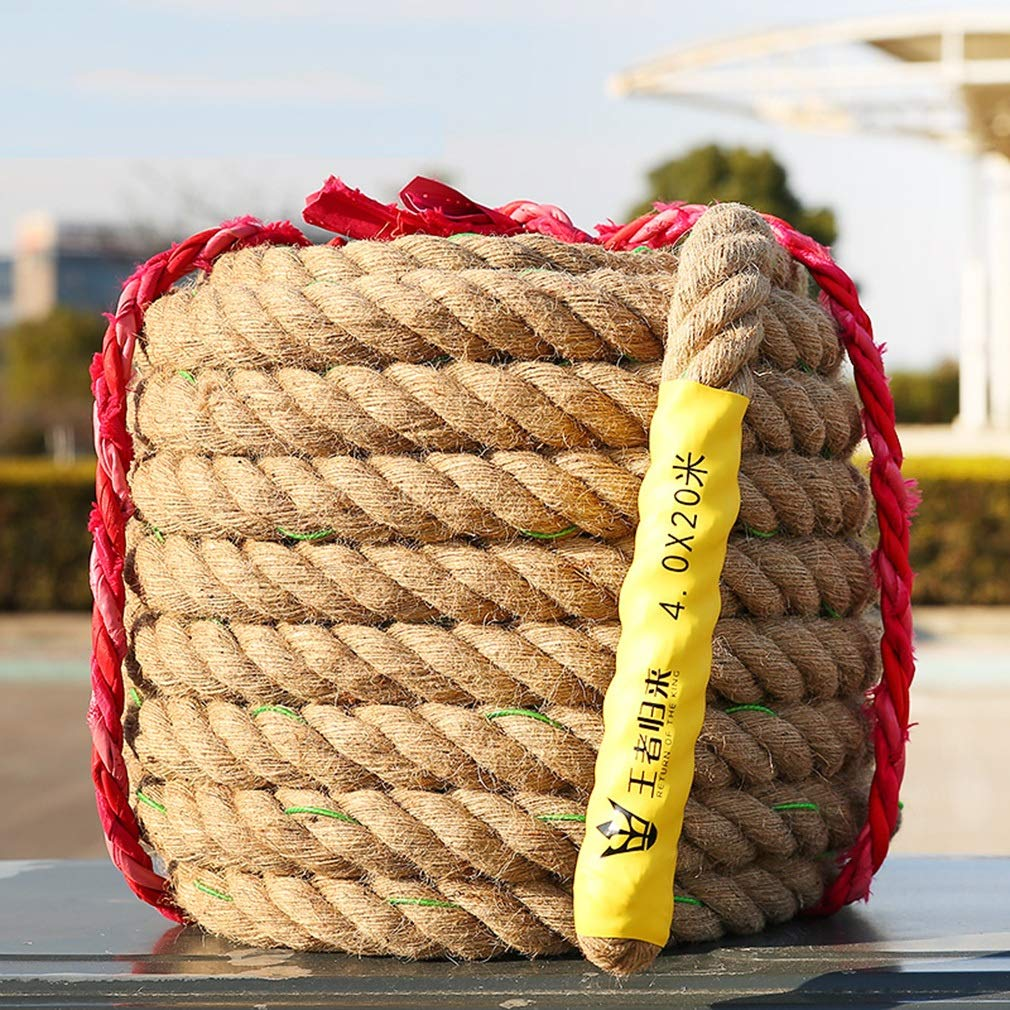 BAI-Fine Wire Rope 20m/25m/30m/40m/50m Tug of War Rope Adult/Child Tug-of-war Combat Fitness Rope Linen Rope Does Not Hurt The Hand Game Rope (Color : Diameter 4cm, Size : 20m)