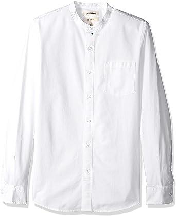 Marca Amazon - Goodthreads – Camisa Oxford con cuello en banda de manga larga de corte entallado para hombre