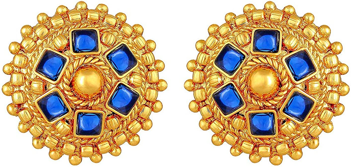 Aheli Party Wear Golden Color Ball with Blue Faux Stone Necklace Earrings Traditional Wedding Bollywood Fashion Ethnic Jewelry for Women