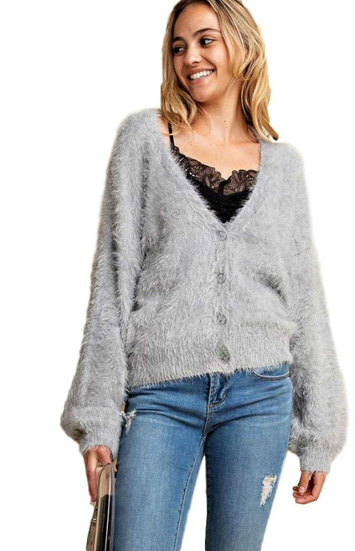 3bc06a2c5a9 Grey Angora Fuzzy Short Cardigan Button Up V Neck Long Sleeve Silver ...