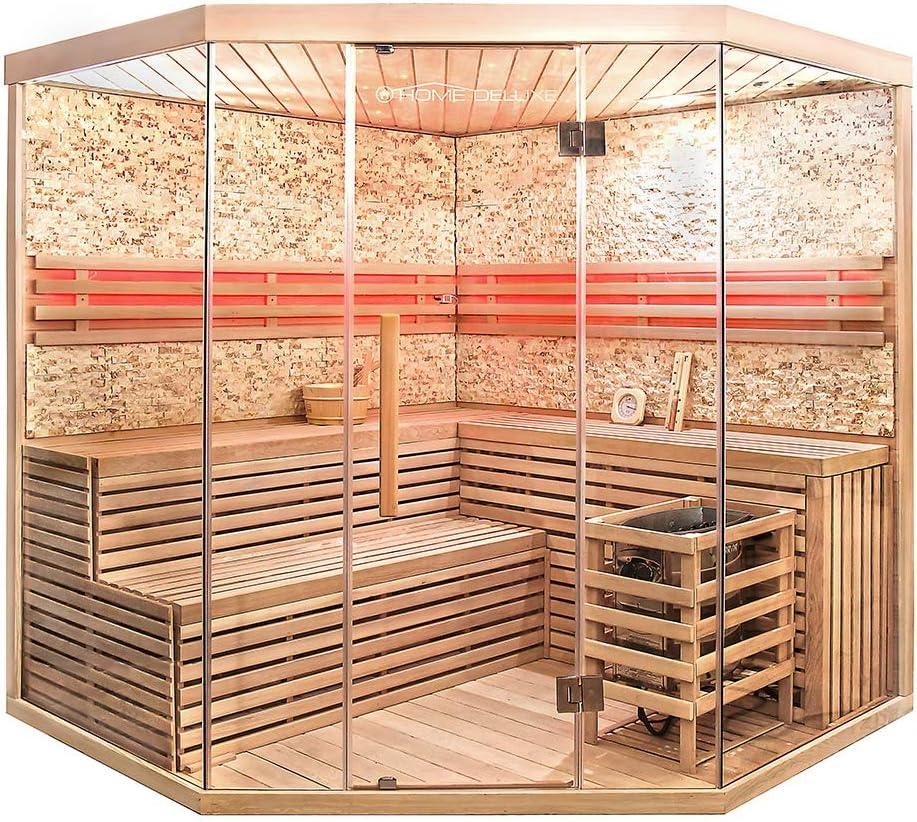 Dimensiones: 200 x 200 x 210 cm Incluye accesorios completos. Madera: abeto curvo Skyline XL grande de piedra artificial Sauna tradicional Home Deluxe
