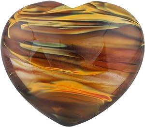 "SUNYIK Volcano Cherry Quartz Carved Puff Heart Pocket Stone,Healing Palm Crystal Pack of 1(1.6"")"
