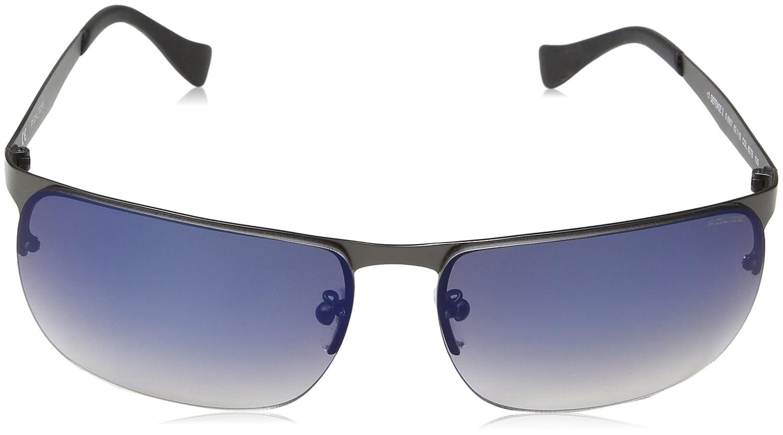 Police Herren Sonnenbrille S8957M, Blau (Matt Gunmetal), Einheitsgröße
