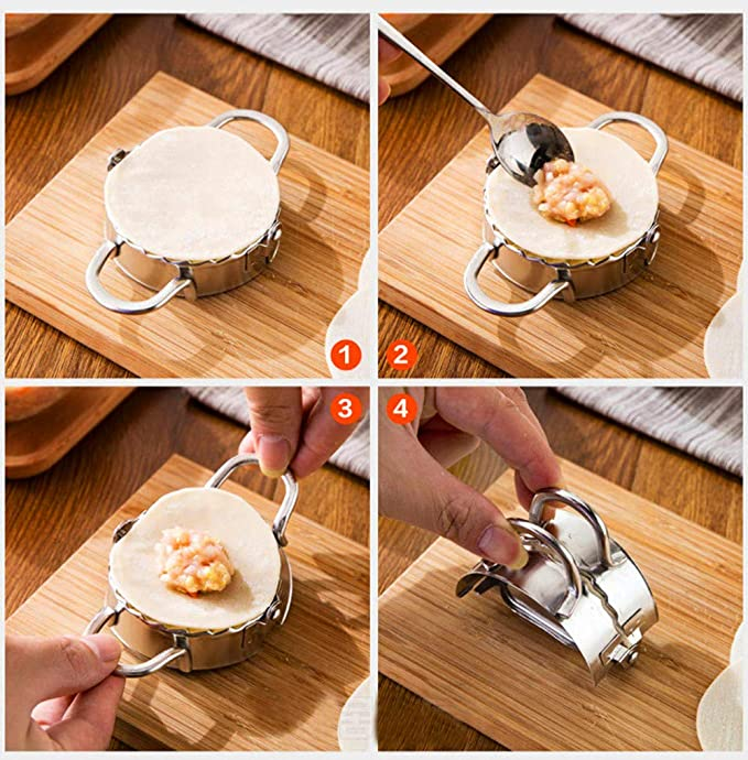 Bola de masa envolturas de moldes de m/últiples funciones inoxidable bola de masa de la empanada de masa hervida del molde de acero para hacer ravioles Manual pizca de masa hervida Pie Mold
