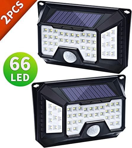 66 LED Solar Motion Lights Outdoor, Wireless Motion Sensor Light of 4 Sides with 3 Optional Modes, 270 Wide Angle, IP65 Waterproof Security Lighting Nightlight for Front Door, Garden 2 Pack