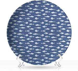 """Fish,Damask Ceramic Decorative Plate White Fish Silhouettes with Dots and Dashes Print on Blue Background Print 8 inch 7""""Inch"""