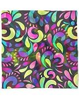 Neon Watercolor Swirls Satin Style Scarf