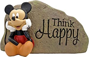 The Galway Company Mickey Mouse Think Happy Outdoor Garden Rock, Hand Painted, Made of Durable Stone Resin, Stands 9 inches Wide and 5 inches Tall. Official Licensed Disney Product.