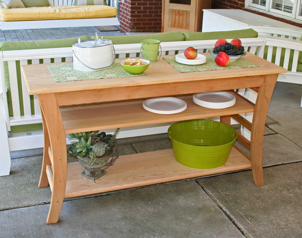 Cedar Entertaining Buffet Table Size 58