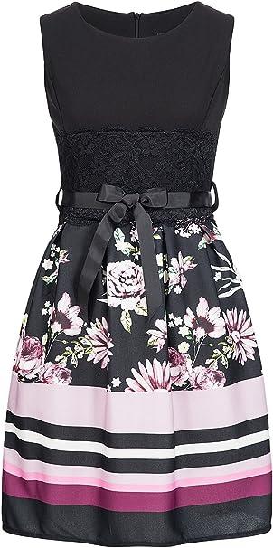 Styleboom Fashion Damen Kleid Mini Dress Belt Flower Print Sommerkleid Cocktailkleid Schwarz Pink Amazon De Bekleidung
