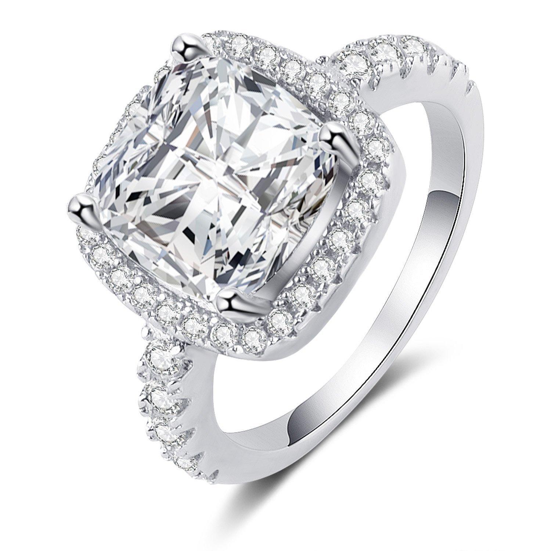 Panghoo 925 Sterling Silver Cz Diamond Wedding Ring Set for Women (5) by Panghoo (Image #6)
