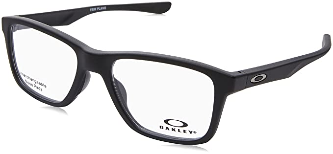 51f6a344f1 Image Unavailable. Image not available for. Color  Oakley OX 8107 01 Trim  Plane (TRUBRIDGE Satin Black Plastic Square Eyeglasses 53mm