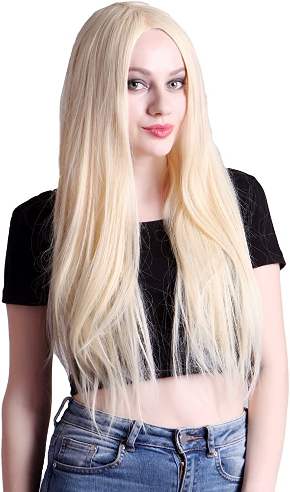 Adult Ladies Classic Long Blonde Straight Wig Fancy Dress Fashion Cosplay New