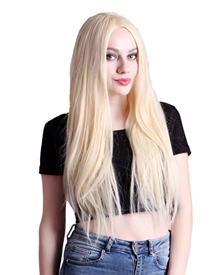 Amazoncom Hde Womens Long Straight Blonde Hair Wig For Cosplay