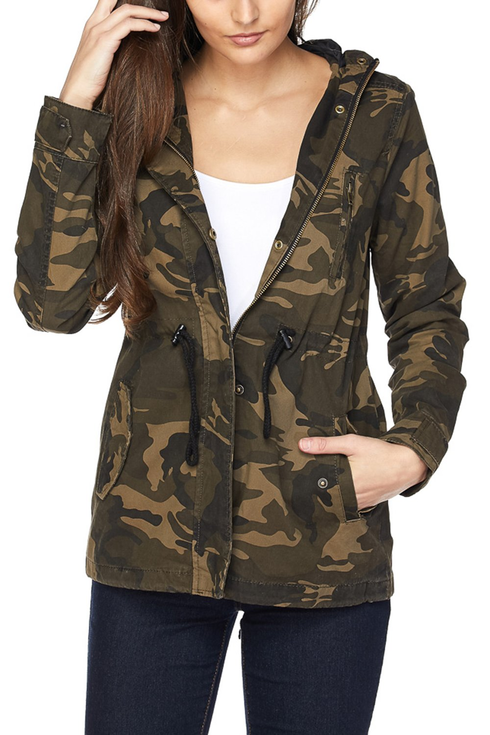 FASHION BOOMY Womens Zip Up Military Anorak Jacket W/Hood (Large, CAMO_2)
