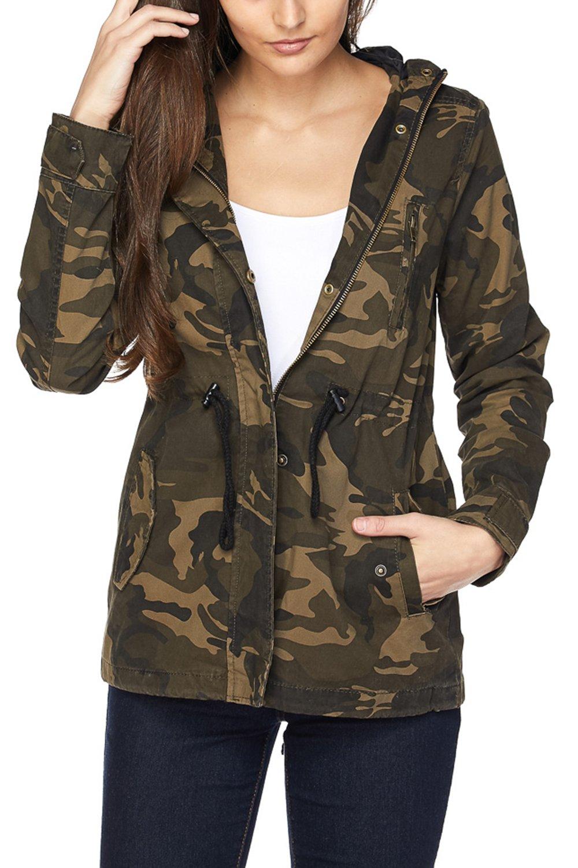 FASHION BOOMY Womens Zip Up Military Anorak Jacket W/Hood (Medium, CAMO_2)