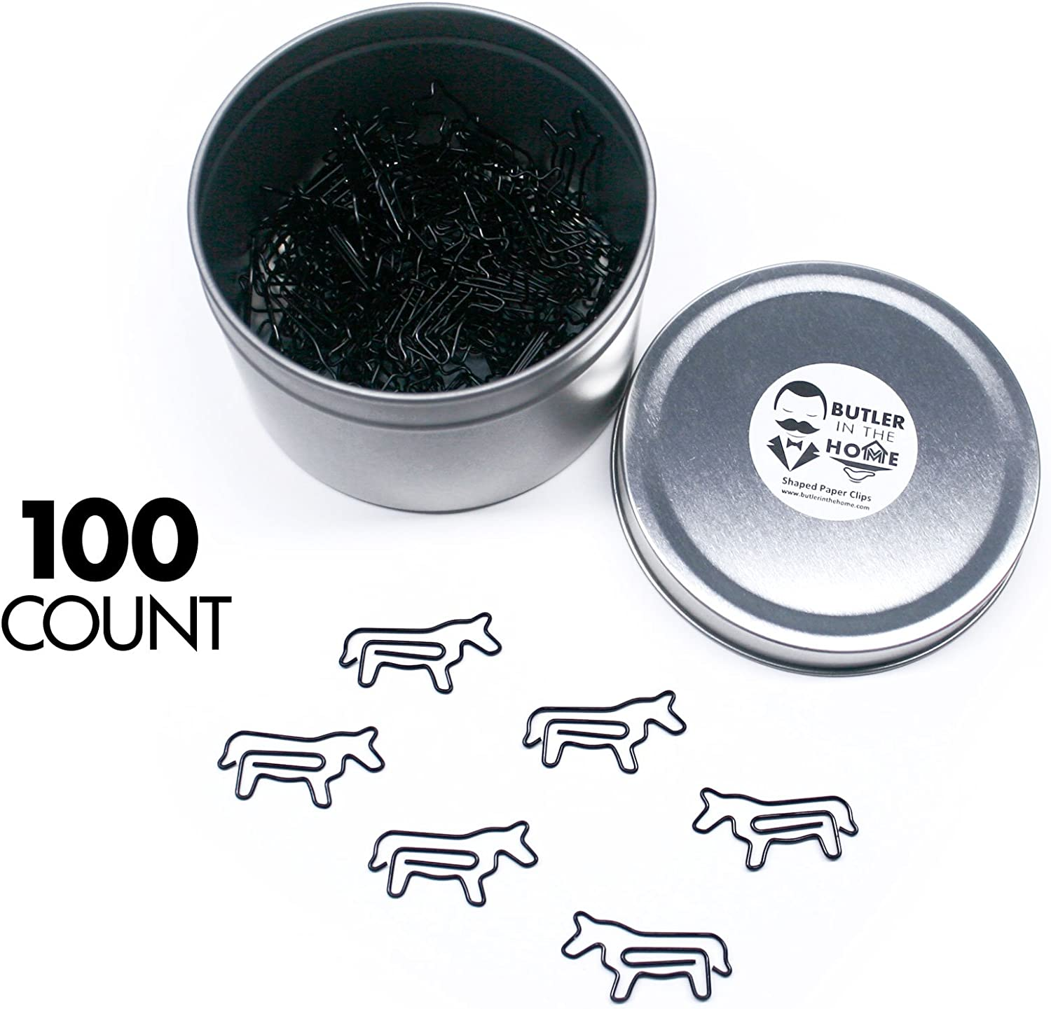 Butler in the Home Horse Shaped Paper Clips Great for Paper Clip Collectors or Office Gift - Comes in Round Tin with Lid and Gift Box (100 Count Black)