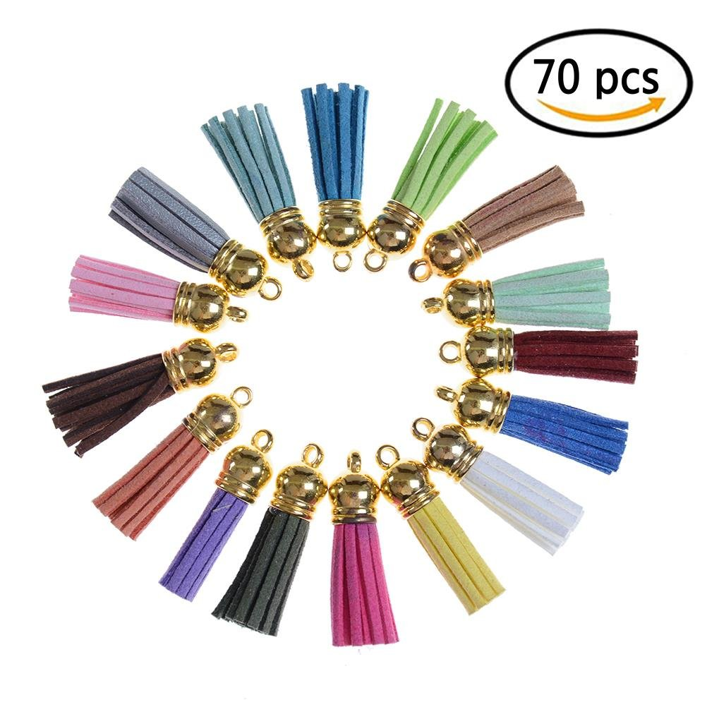 CosCosX 70 Pieces Leather Tassels DIY Accessories, 30mm Suede Tassel for Keychain Cellphone Straps Jewelry Charms, Assorted color Maple Leaves