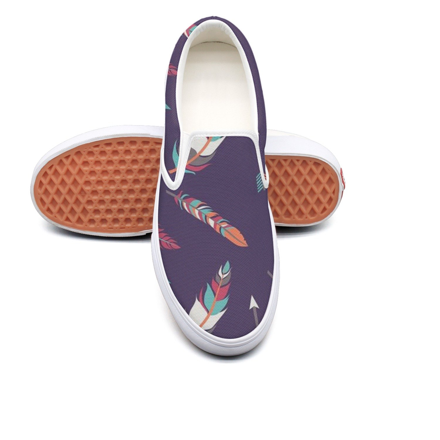 VCERTHDF Vintage Arrow And Feather Print Boat Shoes Man White by VCERTHDF