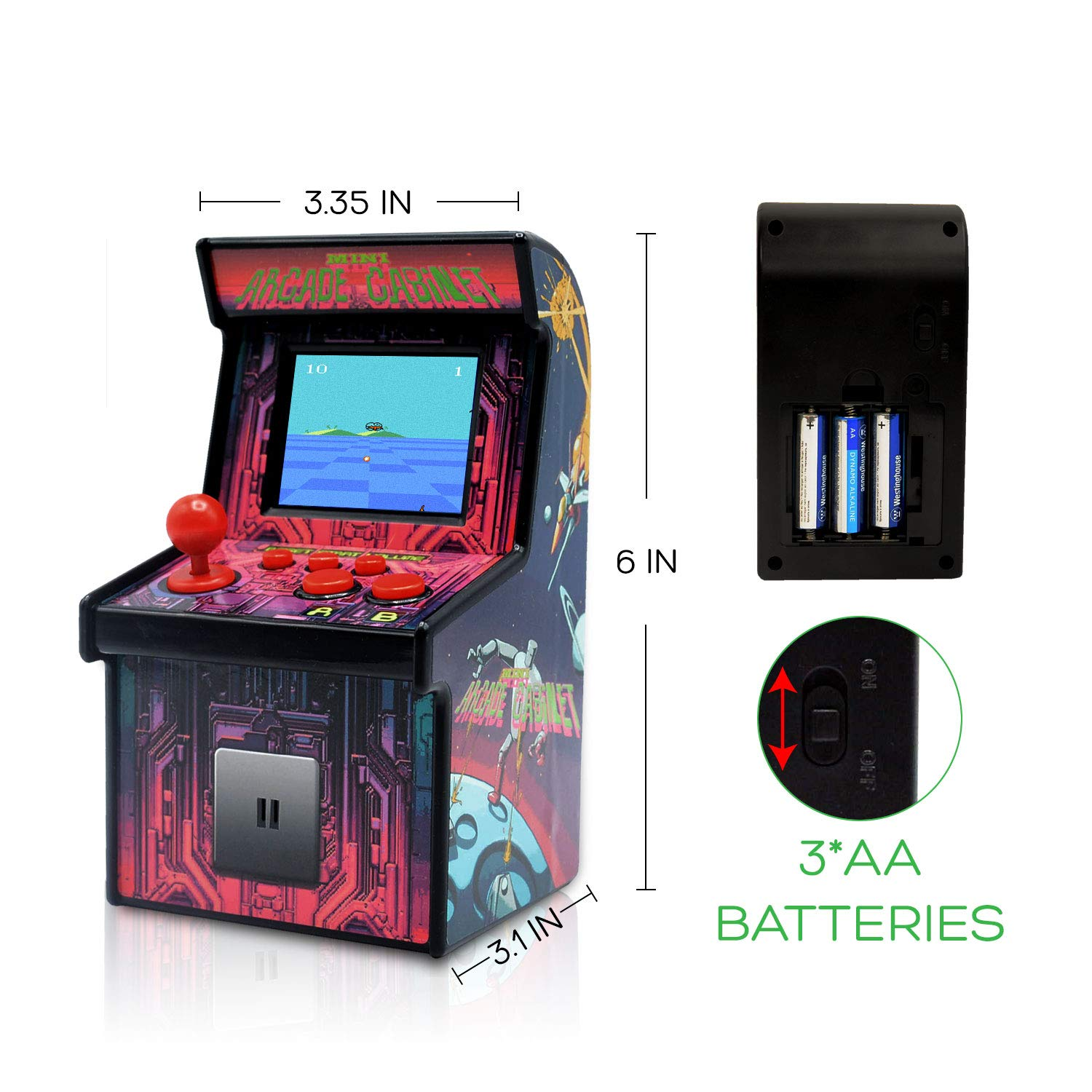 Funderdome Battery Powered Mini Arcade Game, Arcade Machine, Retro Tiny Video Game Arcade Cabinet, Portable Electronic Handheld Gaming Console for Kids with 200 Classic Video Games by Funderdome (Image #4)