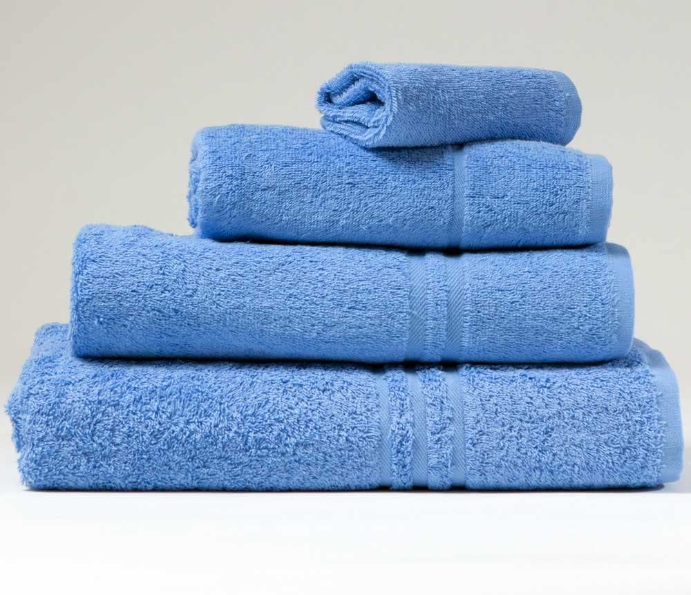 SEE SIZE OPTIONS Blue Label 500gsm Plain Med Blue Hand Towel