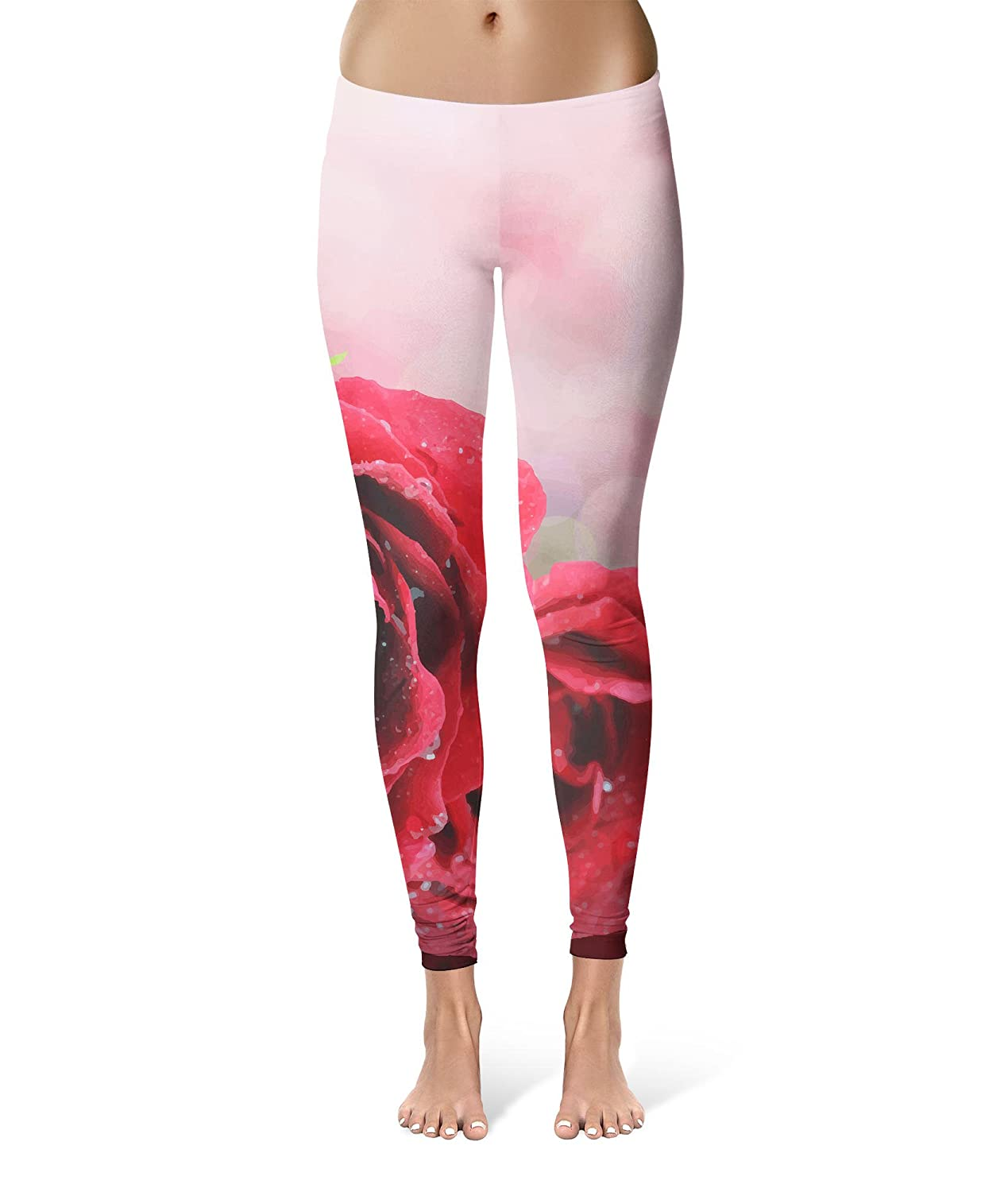 c5e39e089a8d3b Red Roses Bokeh Sport Leggings - Full Length, Mid/High Waist: Amazon.co.uk:  Clothing