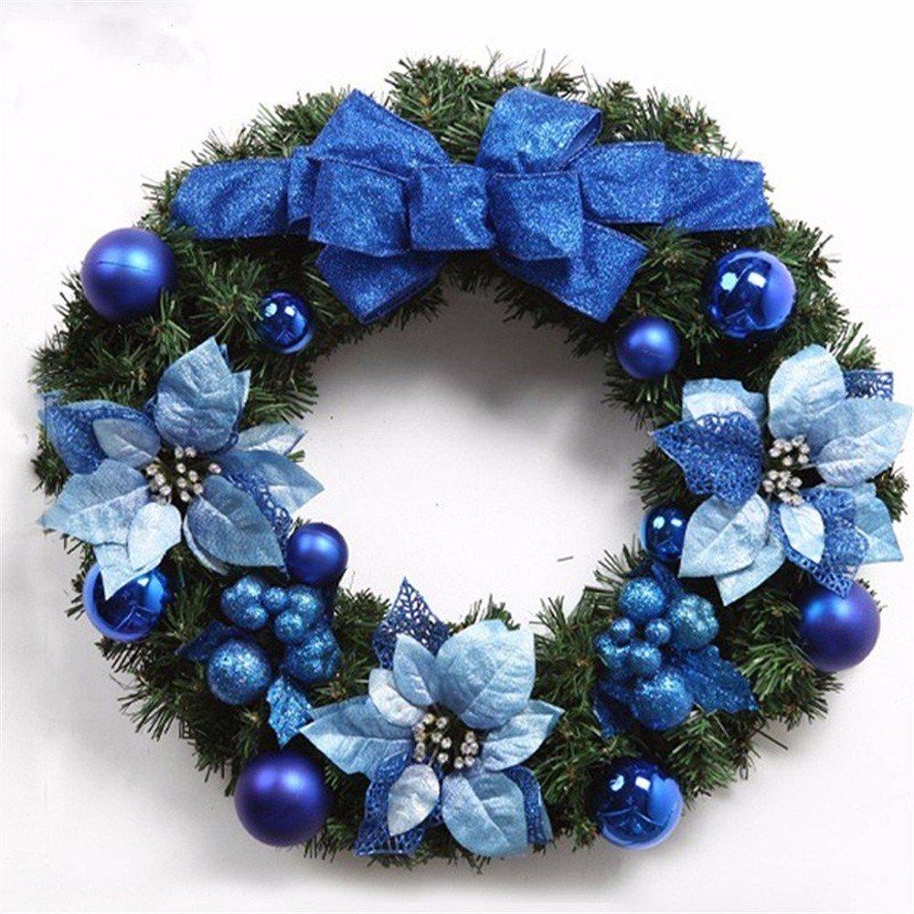 WanJiaHerrenhop Weihnachten Dekoration Girlanden Weihnachten Girlanden Kranz Blau Weihnachten Dekoration Weihnachten Dekoration Blau Dekor Girlanden, 50 cm