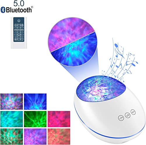 Righting Ocean Wave Night Light Projector, Night Projection Lamp with Bluetooth and Timer, 7 Color Modes and 8 Ambient Nature Tunes with Remote Touch Control for Baby Kids Adults Bedroom